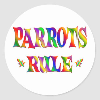 PARROTS RULE CLASSIC ROUND STICKER
