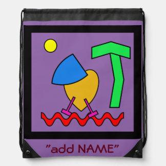 Parrott abstract art for kids drawstring bag