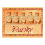 Parsley kitchen spice jars post cards