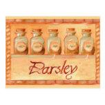 Parsley kitchen spice jars postcard
