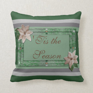 Parsley Poinsettia Stripes Cushion
