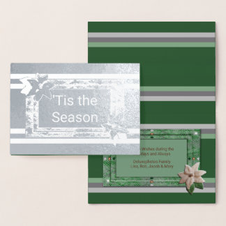 Parsley Poinsettia Stripes Foil Card