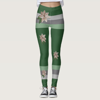 Parsley Poinsettia Stripes Leggings