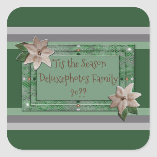 Parsley Poinsettia Stripes Square Sticker