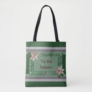 Parsley Poinsettia Stripes Tote Bag