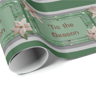 Parsley Poinsettia Stripes Wrapping Paper