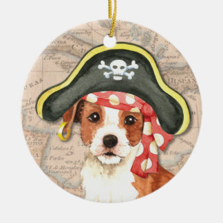 Parson Russell Pirate Round Ceramic Decoration