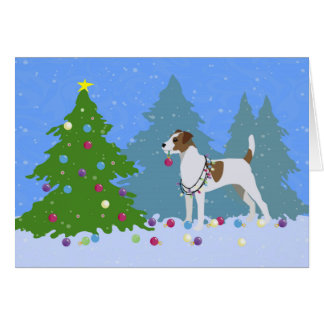 Parson Russell Terrier Decorating Christmas Tree Card
