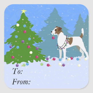 Parson Russell Terrier Decorating Christmas Tree Square Sticker