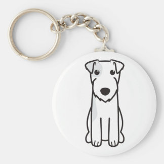 Parson Russell Terrier Dog Cartoon Basic Round Button Key Ring