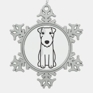 Parson Russell Terrier Dog Cartoon Snowflake Pewter Christmas Ornament