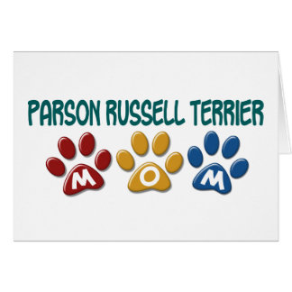 PARSON RUSSELL TERRIER Mom Paw Print 1 Greeting Card