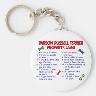 PARSON RUSSELL TERRIER Property Laws 2 Basic Round Button Key Ring