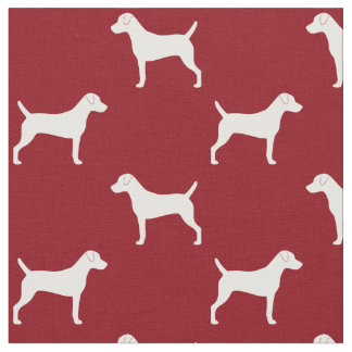 Parson Russell Terrier Silhouettes Pattern Red Fabric