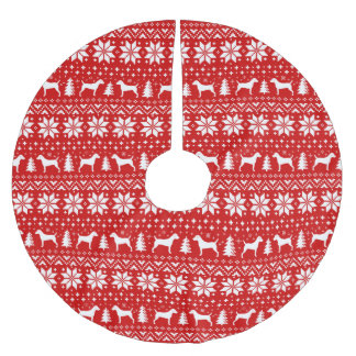 Parson Russell Terriers Christmas Pattern Red Brushed Polyester Tree Skirt
