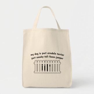 Part Airedale Terrier Part Fence-Jumper Canvas Bags