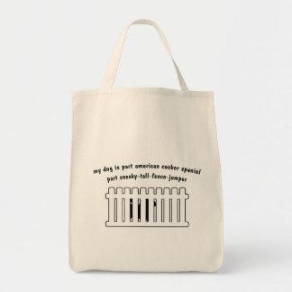 Part American Cocker Spaniel Part Fence-Jumper Canvas Bags