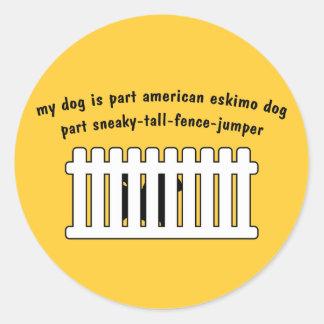 Part American Eskimo Dog Part Fence-Jumper Round Sticker