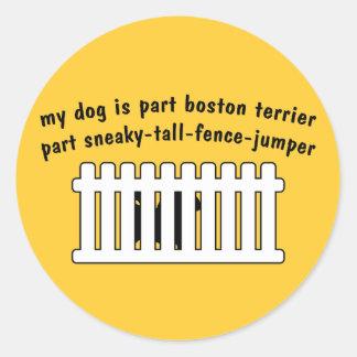 Part Boston Terrier Part Fence-Jumper Round Sticker