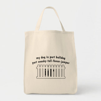 Part Bulldog Part Fence-Jumper Grocery Tote Bag