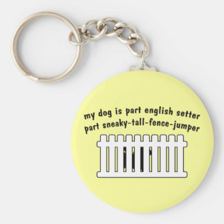 Part English Setter Part Fence-Jumper Basic Round Button Key Ring