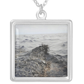 Part of an oil slick in the Gulf of Mexico Square Pendant Necklace
