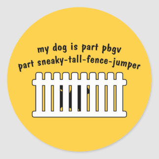 Part PBGV Part Fence-Jumper Round Sticker