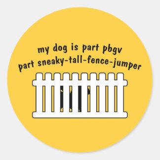 Part PBGV Part Fence-Jumper Round Sticker