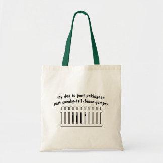Part Pekingese Part Fence-Jumper Budget Tote Bag