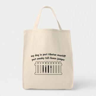 Part Tibetan Mastiff Part Fence-Jumper Grocery Tote Bag