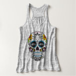 PART TIME BADASS- sugar skull flowy tank