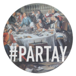 PARTAY Up In Here Hashtag - Trendium Art Captions Dinner Plate