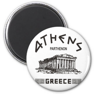 Parthenon - Athens - Greek (black) 6 Cm Round Magnet