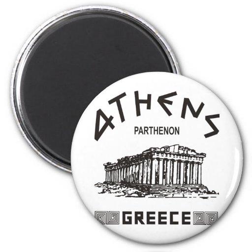 Parthenon - Athens - Greek (black) Refrigerator Magnet
