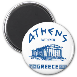 Parthenon - Athens - Greek (blue) 6 Cm Round Magnet