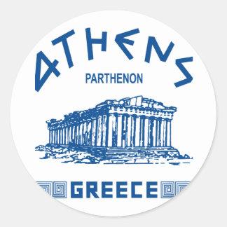 Parthenon - Athens - Greek (blue) Classic Round Sticker