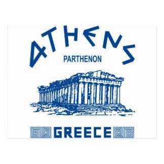 Parthenon - Athens - Greek (blue) Postcard