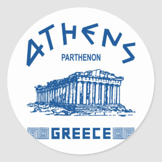 Parthenon - Athens - Greek (blue) Round Sticker