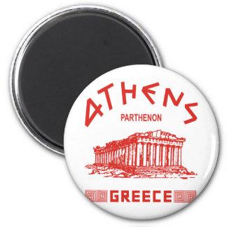 Parthenon - Athens - Greek (red) 6 Cm Round Magnet