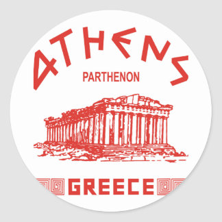 Parthenon - Athens - Greek (red) Classic Round Sticker