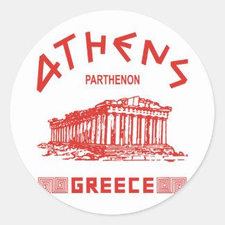 Parthenon - Athens - Greek (red) Round Sticker