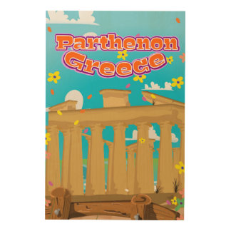 Parthenon Greece travel poster. Wood Print