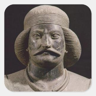 Parthian warrior, from Shami, 01st century AD Square Sticker