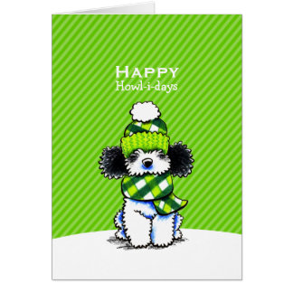 Parti Poodle Plaid Scarf Christmas Green Custom Card