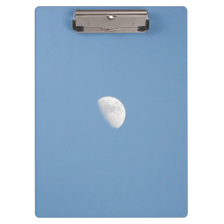 Partial Moon and a Clear Blue Sky Clipboard