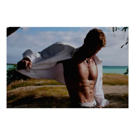 Partially Open Shirt on Beach Backdrop Poster