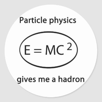 particle physics round sticker