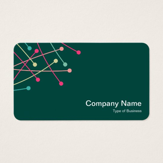 Particle Tracks - Colours 01 on Dk Green 004840 Business Card