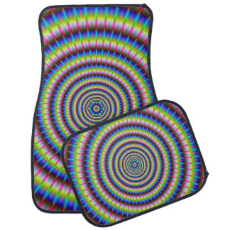 Particles and Waves with Floral Motif Car Mat