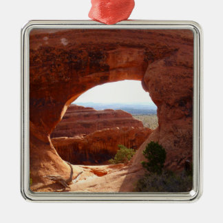 Partition Arch at Arches National Park Silver-Colored Square Decoration